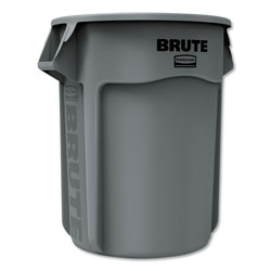 Rubbermaid Round Brute Container, Plastic, 55 gal, Gray