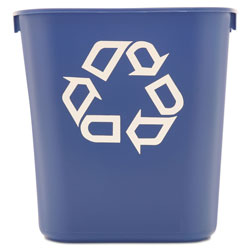 Rubbermaid Small Deskside Recycling Container, Rectangular, Plastic, 13.63 qt, Blue