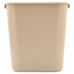 Rubbermaid Deskside Plastic Wastebasket, Rectangular, 7 gal, Beige