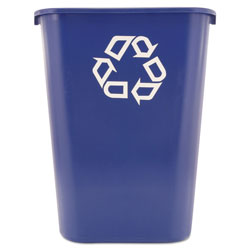Rubbermaid Large Deskside Recycle Container with Symbol, Rectangular, Plastic, 41.25 qt, Blue