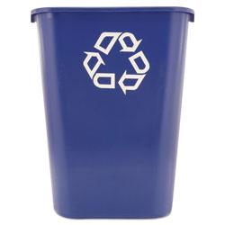 Rubbermaid Large Deskside Recycle Container w/Symbol, Rectangular, Plastic, 41.25qt, Blue