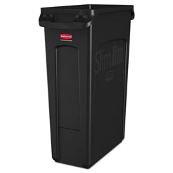 Rubbermaid Slim Jim Receptacle with Venting Channels, Rectangular, Plastic, 23 gal, Black