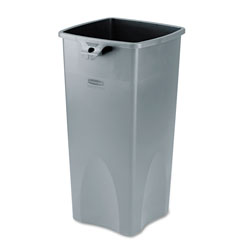 Rubbermaid Untouchable Square Waste Receptacle, Plastic, 23 gal, Gray