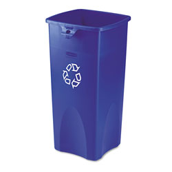 Rubbermaid Recycled Untouchable Square Recycling Container, Plastic, 23gal, Blue