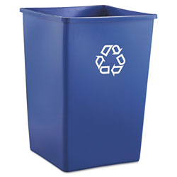 Rubbermaid Recycling Container, Square, Plastic, 35 gal, Blue