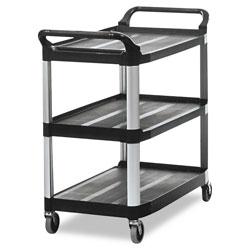 Rubbermaid Open Sided Utility Cart, Three-Shelf, 40.63w x 20d x 37.81h, Black