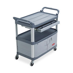 Rubbermaid Instrument Cart, w/ Full Size Drawer, 40-3/5 in x 20 in x 37-4/5 in, Gray