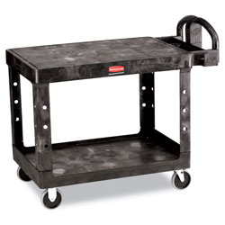 Rubbermaid Flat Shelf Utility Cart, Two-Shelf, 25.25w x 44d x 38.13h, Black