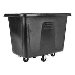Rubbermaid Metal Frame Cube Truck, Rectangular, Polyethylene, 400lb Cap, 12 cu. ft., Black