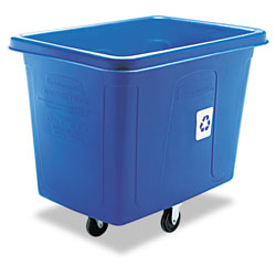 Rubbermaid Recycling Cube Truck, Rectangular, Polyethylene, 500 lb Capacity, Blue