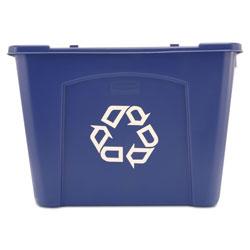 Rubbermaid Stacking Recycle Bin, Rectangular, Polyethylene, 14 gal, Blue