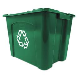 Rubbermaid Recycling Box, Rectangular, 14 gal, Green