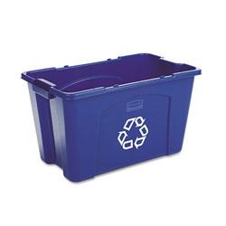 Rubbermaid Stacking Recycle Bin, Rectangular, Polyethylene, 18 gal, Blue