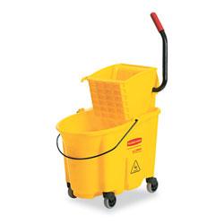 Rubbermaid Wavebrake 26 Quart Side Press Mop Bucket & Wringer Combo, Yellow