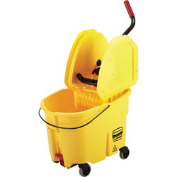 Rubbermaid Wavebrake 35 Quart Bucket/Wringer Combinations, Yellow