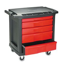Rubbermaid Five-Drawer Mobile Workcenter, 32 1/2w x 20d x 33 1/2h, Black Plastic Top