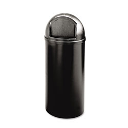 Rubbermaid Marshal Classic Container, Round, Polyethylene, 25 gal, Black