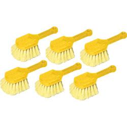 Rubbermaid Long Handle Scrub, 8 in Plastic Handle, Gray Handle w/Yellow Bristles