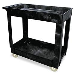 Rubbermaid Service/Utility Cart, Two-Shelf, 34.13w x 17.38d x 32.38h, Black