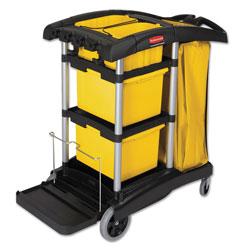 Rubbermaid HYGEN M-fiber Healthcare Cleaning Cart, 22w x 48.25d x 44h, Black/Yellow/Silver