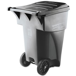 Rubbermaid Brute Rollout Heavy-Duty Waste Container, Square, Polyethylene, 95gal, Gray