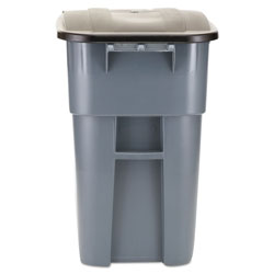 Rubbermaid Brute Rollout Container, Square, Plastic, 50 gal, Gray