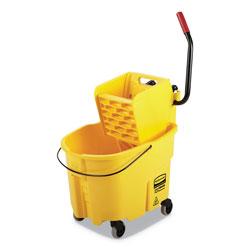 Rubbermaid WaveBrake 2.0 Bucket/Wringer Combos, Side-Press, 35 qt, Plastic, Yellow