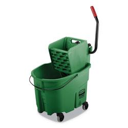Rubbermaid WaveBrake 2.0 Bucket/Wringer Combos, Side-Press, 35 qt, Plastic, Green