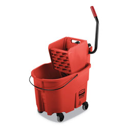 Rubbermaid WaveBrake 2.0 Bucket/Wringer Combos, Side-Press, 35 qt, Plastic, Red