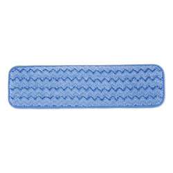Rubbermaid Microfiber Wet Room Pad, Split Nylon/Polyester Blend, 18 in, Blue, 12/Carton