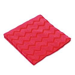 Rubbermaid HYGEN Microfiber Cleaning Cloths, 16 x 16, Red, 12/Carton