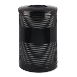 Rubbermaid Classics Perforated Open Top Receptacle, Round, Steel, 51 gal, Black