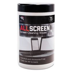 Read Right/Advantus AllScreen Screen Cleaning Wipes, 6 in x 6 in, White, 75/Tub