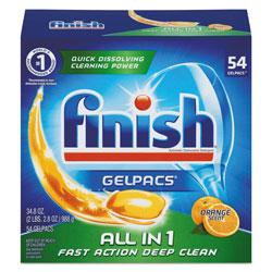 Finish® Dish Detergent Gelpacs, Orange Scent, 54/Box, 4 Boxes/Carton