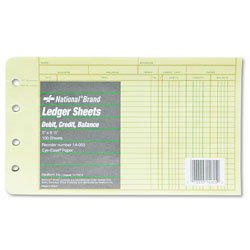 National Brand Four-Ring Binder Refill Sheets, 5 x 8 1/2, 100/Pack