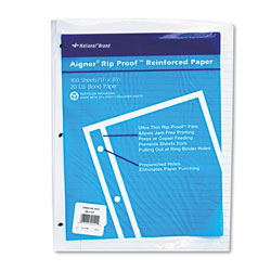 National Brand Rip Proof Reinforced Filler Paper, 3-Hole, 8.5 x 11, Narrow Rule, 100/Pack