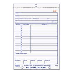 Rediform Receiving Record Book, 5 9/16 x 7 15/16, Three-Part Carbonless, 50 Sets/Book
