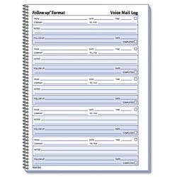 Rediform Voice Mail Wirebound Log Books, 8 x 10 5/8, 500 Sets/Book