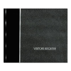 National Brand Visitor Register Book, Black Hardcover, 128 Pages, 8 1/2 x 9 7/8