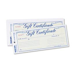 Rediform Gift Certificates w/Envelopes, 8-1/2w x 3-2/3h, Blue/Gold, 25/Pack