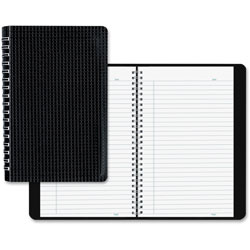 Blueline Poly Cover Notebook, 9 3/8 x 6, Ruled, Twin Wire Binding, Black Cover, 80 Sheets