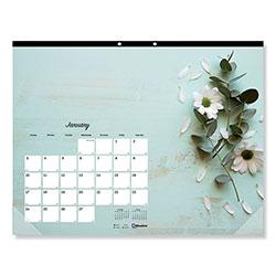 Blueline Romantic Monthly Desk Pad Calendar, 17.75 x 10.88, Floral, 2021