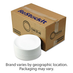 ReStockIt Disposable 9 in Paper Plates, White, 100/Bag, 10 Bags/Case, 1000 per case