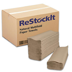 ReStockIt Multifold Paper Towels, 9.25 in x 9.40 in, 1 Ply, Natural, 250 Towels/Pack, 16 Packs/Case, 4000 Towels per Case