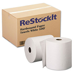 ReStockIt Hardwound Paper Towel, 8 in x 800', White, 1-Ply, 6 Rolls/Case, 4800' per Case