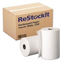 ReStockIt Hardwound Paper Towels, 8 in x 350', White, 1-Ply,12 Rolls/Case, 4200' per case
