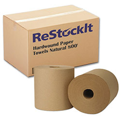 ReStockIt Hardwound Paper Towels , 8 in x 800', Natural, 1-Ply, 6 Rolls/Case, 4800' per case