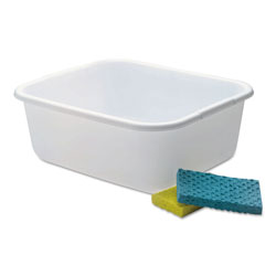 Rubbermaid Microban Dishpan, 4.5gal, White, 6/Carton