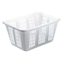 Rubbermaid Laundry Basket, 1.6 bushels, 10.88w x 22.5d x 16.5h, Plastic, White, 8/Carton