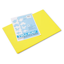 Pacon Tru-Ray Construction Paper, 76lb, 12 x 18, Yellow, 50/Pack